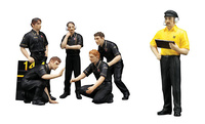 "Set de 6 figuras F1 Pit Crew  ""JPS Team Lotus"" (1977) True Scale Model 1/18"