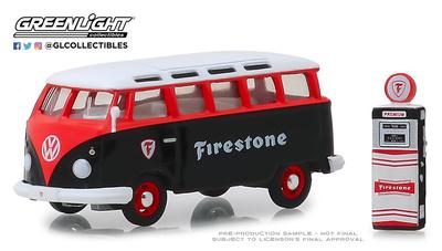 "Volkswagen T1 Samba Bus ""Firestone"" con surtidor de gasolina (1964) Greenlight 1/64"