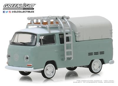 Volkswagen T2 Cabina doble con toldo y baca (1974) Greenlight 1/64